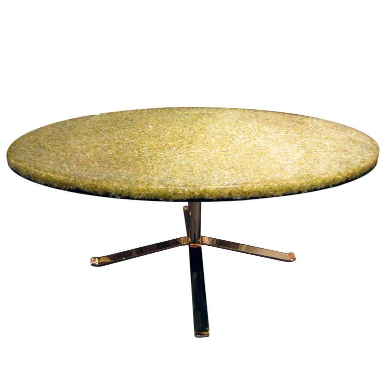 Coffee Table With A Yellow Resin Top On A Gilded Base By