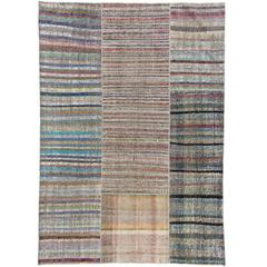Cotton and Goat Wool Kilim Rug with Colorful Stripes