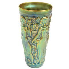 Zsolny Sensual Irridescent Glazed Relief Ceramic Vase or Vessel
