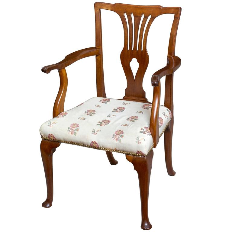 Queen Anne Mahogany Armchair on Cabriole Pad Feet, English, circa 1760 For Sale