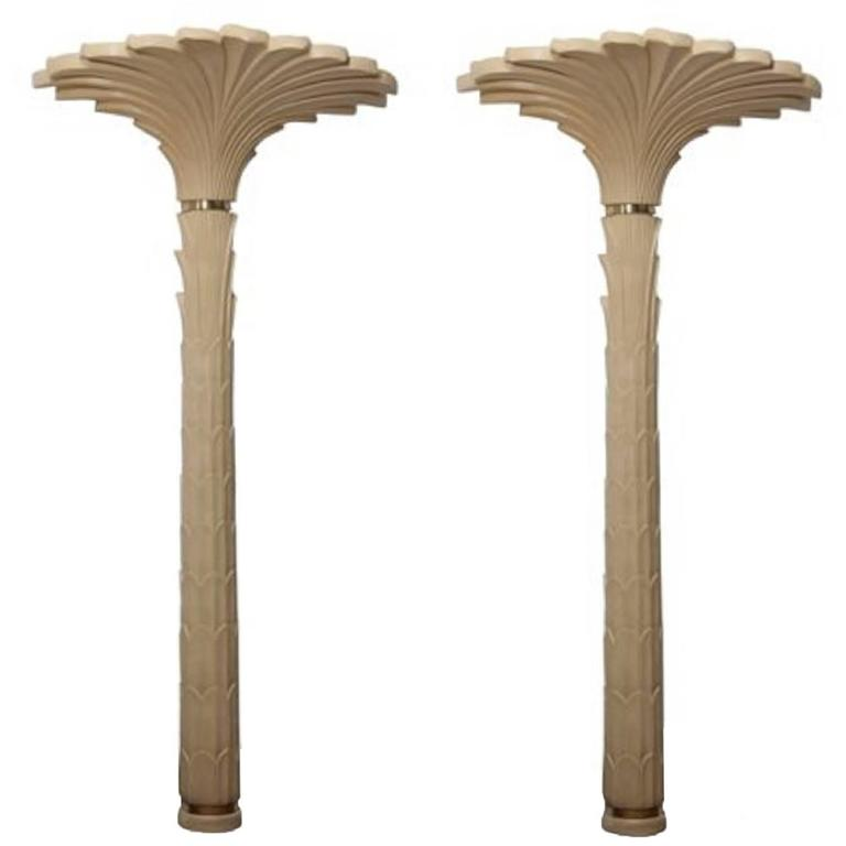 Pair of Torchiere Roche Style Palm Tree Floor and Wall Lamps by Merle Edelman For Sale at 1stdibs