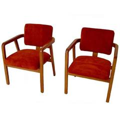 Pair of George Nelson for Herman Miller Suede Armchairs