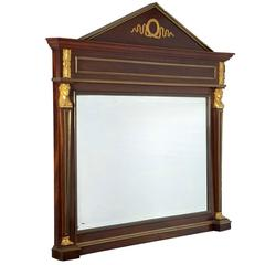 Empire Style Mahogany and Ormolu Beveled Mirror