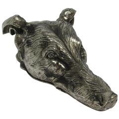 European Silvered Bronze Figural Dog Head Letter Clip