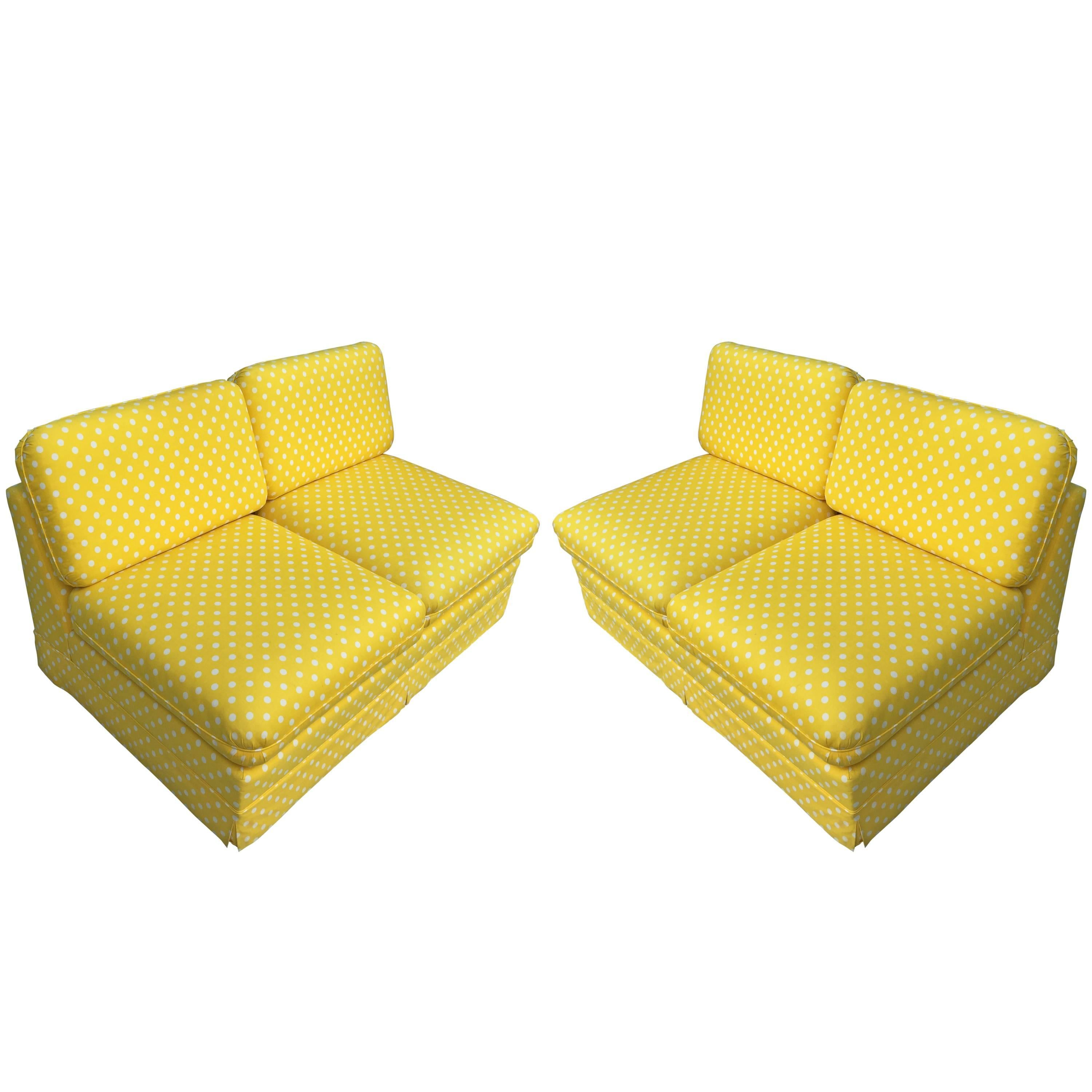 Thayer Coggin Pair of Slipper Sofas or Loveseats by Milo Baughman