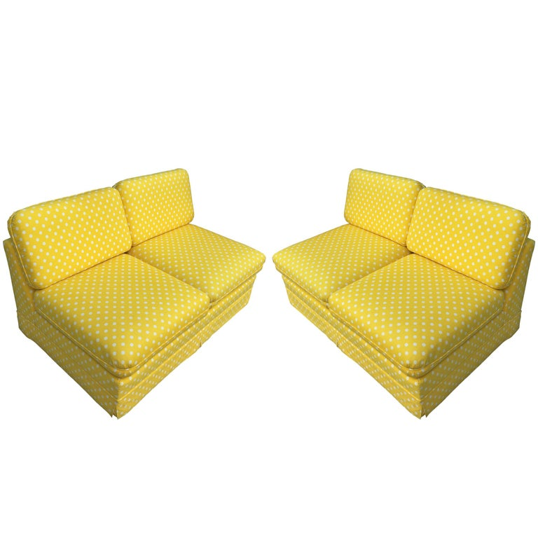 Thayer Coggin Pair of Slipper Sofas or Loveseats by Milo Baughman For Sale