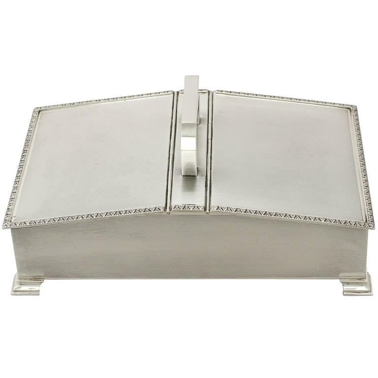 Sterling Silver Cigarette Box - Art Deco Style - Vintage Elizabeth II