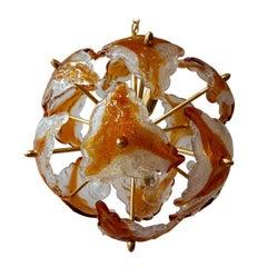 Three Murano Glass and Brass Sputnik Chandeliers