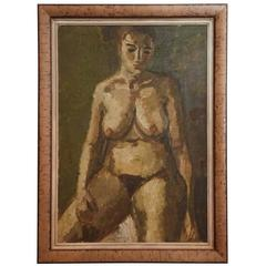 Large Nude Study by Bernth Nielsen, Denmark 1935, Oil on Canvas