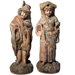 Antique Terracotta French Renaissance Garden Sculpture Statues