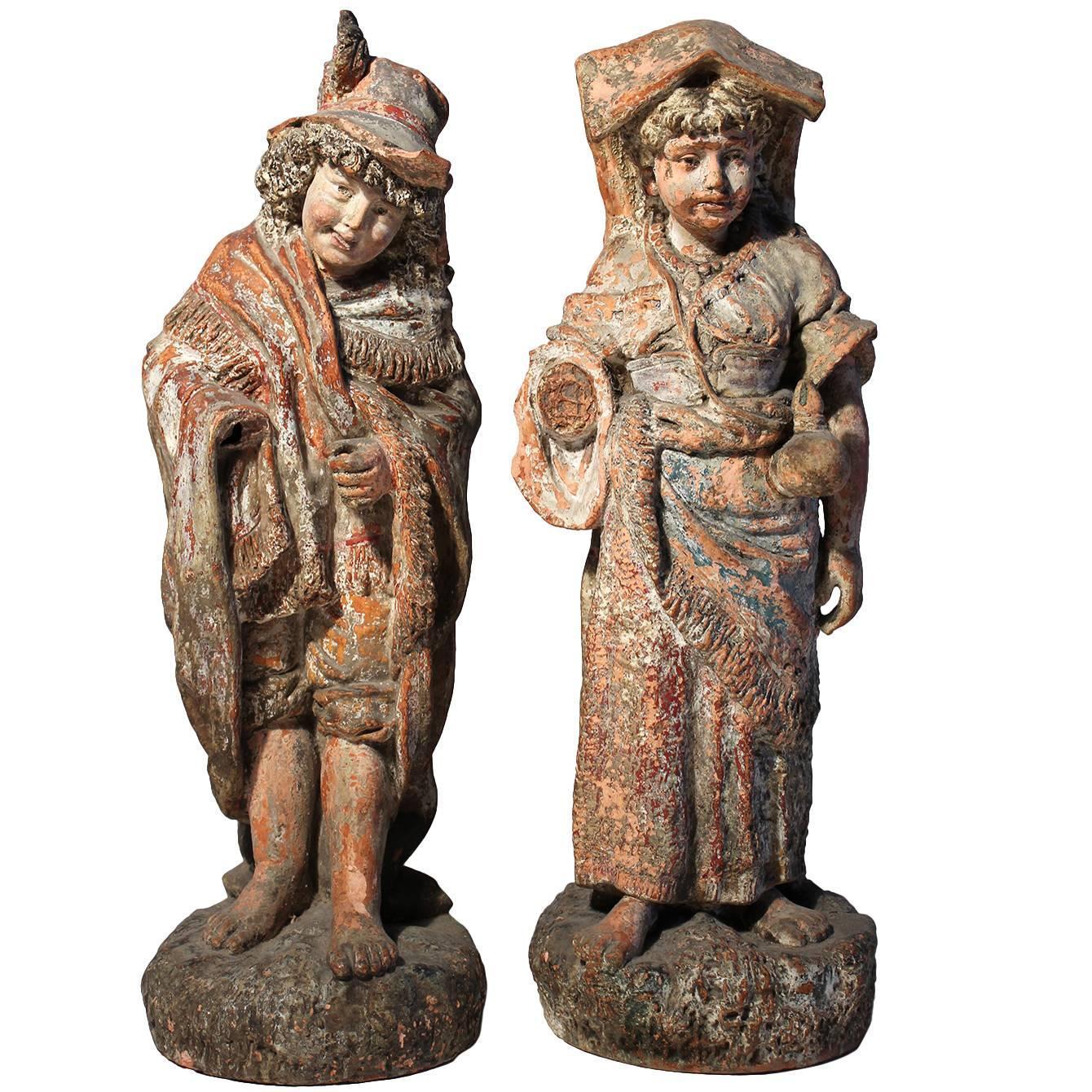 Antique Terracotta French Renaissance Garden Sculpture Statues