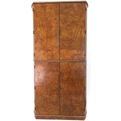 American of Martinsville Burl Wood and Brass Cabinet