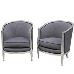 Pair of French Art Deco Bergères, Style of Paul Follot