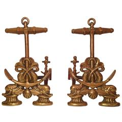 Brass Anchor Andirons