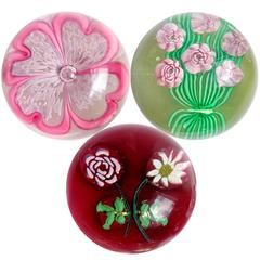 Fratelli Toso Murano Millefiori Flower Bouquet Italian Art Glass Paperweights