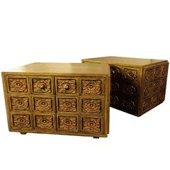 Pair of Gold Side Tables with Carved Floral Door and Side Panels