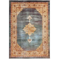 Antique Indian Agra Rug Intoxicating Blue Field and Crown Jewel Medallion