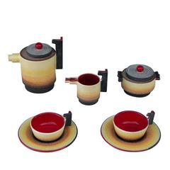 Diulgheroff Futurist Ceramic Tea Set for Two by Mazzotti, 1903