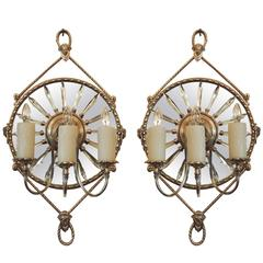 19th C English Mirrored Bronze and Crystal Sconces by James Green