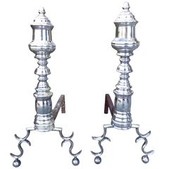 18th-19th Century Federal Style Silvered Andirons, circa 1800s