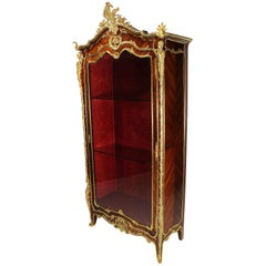 French Louis XV Style Ormolu Mounted Kingwood Figural Vitrine by François Linke