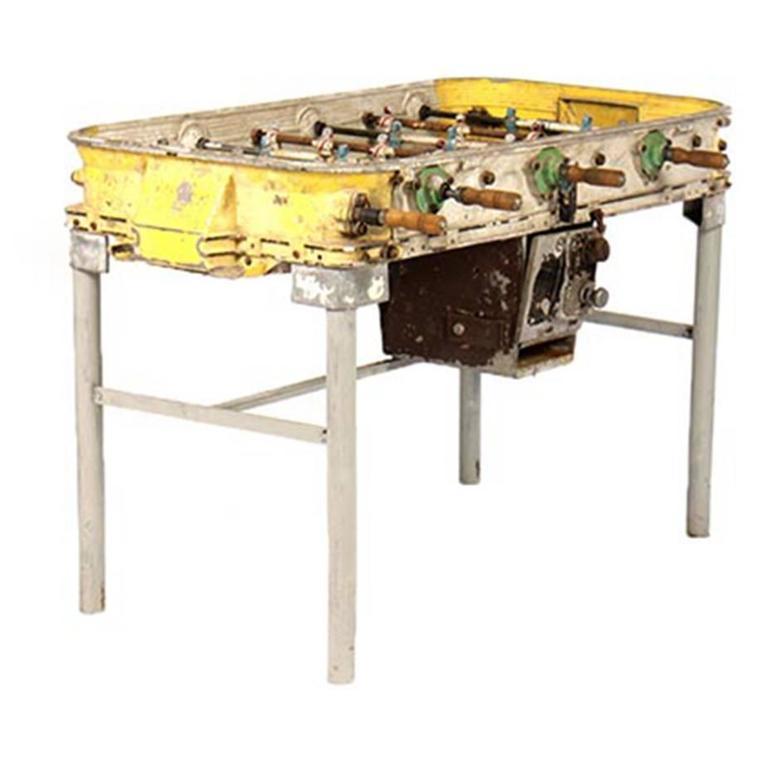 Yellow Vintage Cast Aluminum Foosball Table At 1stdibs