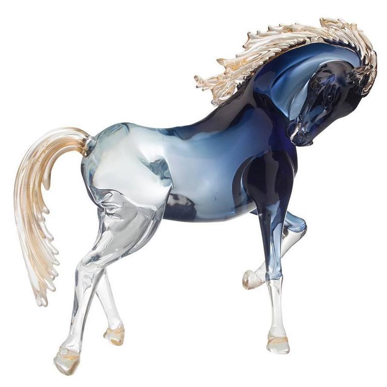 Small Black Murano Glass Prancing Horse By Oscar Zanetti At 1stdibs