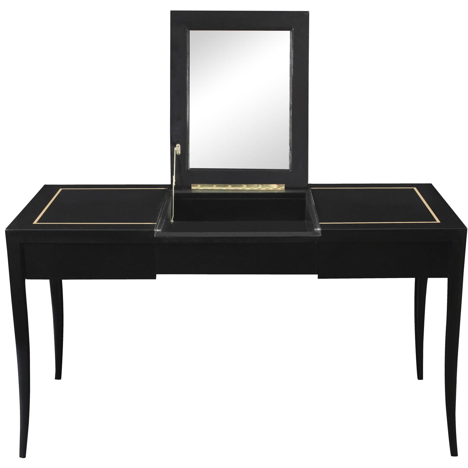 Gold Vanity Table Part - 29: Ladyu0027s Vanity With Gold Inlay And Flip-Up Mirror Top By Tommi Parzinger At  1stdibs