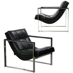 Pair of Modern Maurice Villency Sculptural Brushed Steel Lounge Armchairs