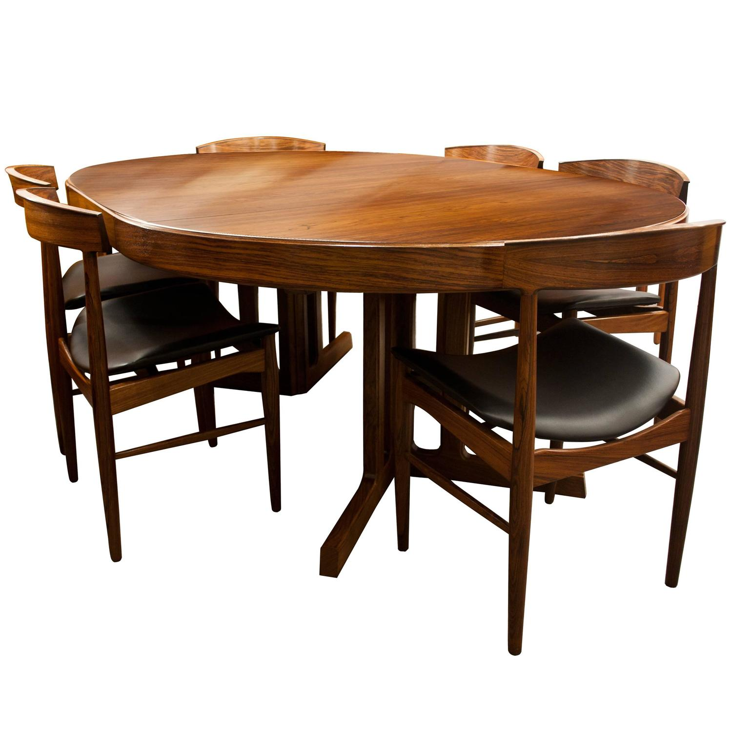 mid century modern design rosewood dining table and six. Black Bedroom Furniture Sets. Home Design Ideas