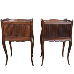 Pair of 19th Century French Bedside Tables with Tambour Doors