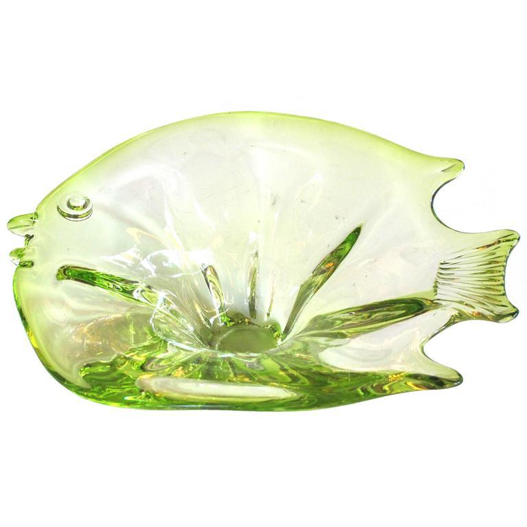 Playful Murano Mid-Century Acid Green Art Glass Bowl of a Fish