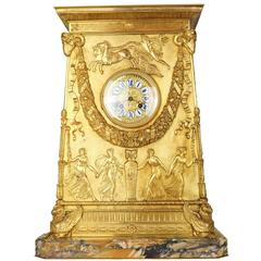 Neoclassical French Empire Bronze Mantel Clock on Siena Marble Base