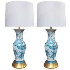 Elegant Pair of Chinese Blue and White Painted Baluster-Form Lamps