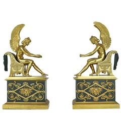 Neoclassical Pair of Bronze Fireplace Chenets