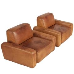 Pair of Cognac Leather Lounge Chairs