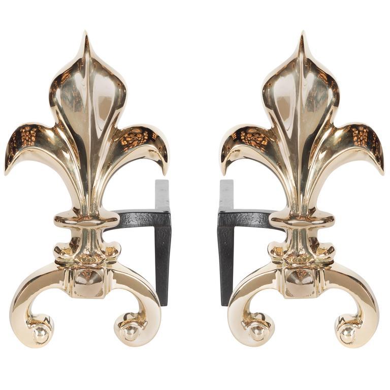 Pair of Custom Fleur-de-Lis Andirons in Polished Brass