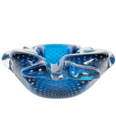 Gorgeous Sapphire-Blue and Clear Murano Glass Bowl or Ashtray
