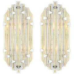 Murano Citron and Clear Marquise Sconces in the Style of Venini