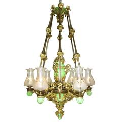 Large Victorian 19th Century Porcelain and Ormolu Six-Light Gasolier Chandelier