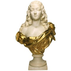French 19th, 20th Century Life-Size Marble and Gilt-Bronze Bust of a Young Girl