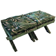 """Pr of Mid-Century Modern Newly Upholstered Billy Baldwin  """"X"""" Benches"""