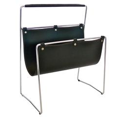 French Leather and Chrome Magazine Rack