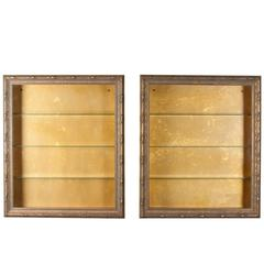 Wall-Mounted Giltwood Vitrines, Pair