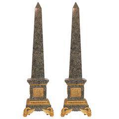 Fantastic Pair of Large Marble and Bronze Figural Obelisks