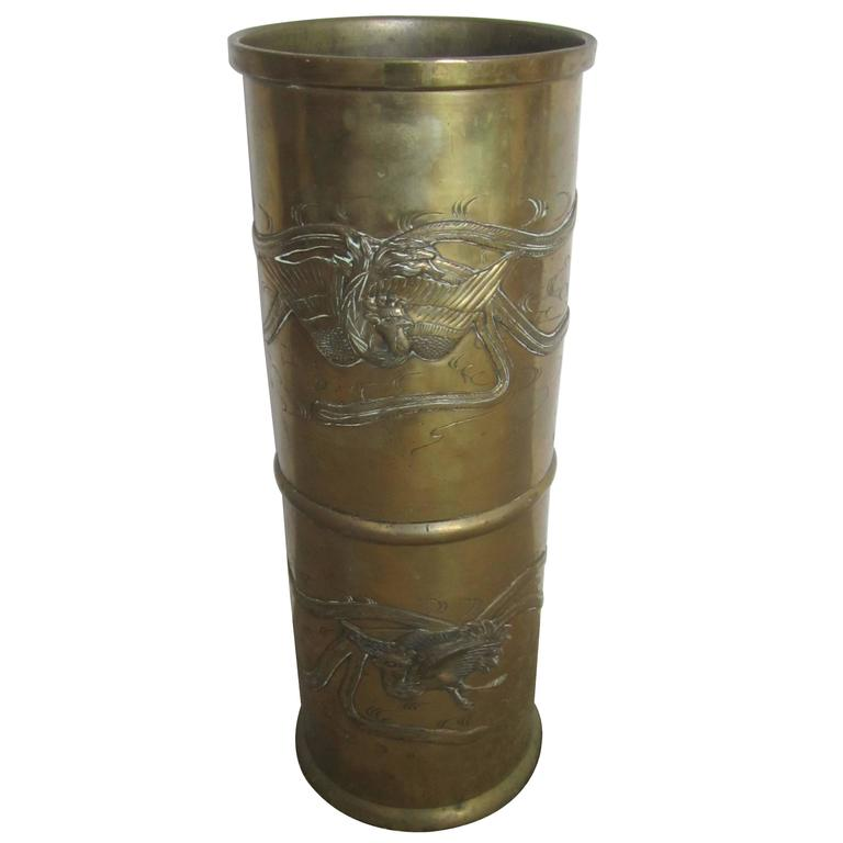Brass Umbrella Stand Embossed: Substantial Brass Umbrella Stand With Embossed Decorative