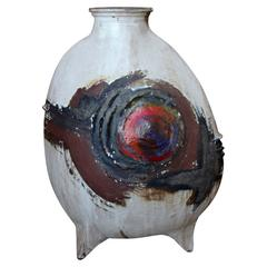 Magnificent Huge Piece of Stoneware with Great Form and Color Signed