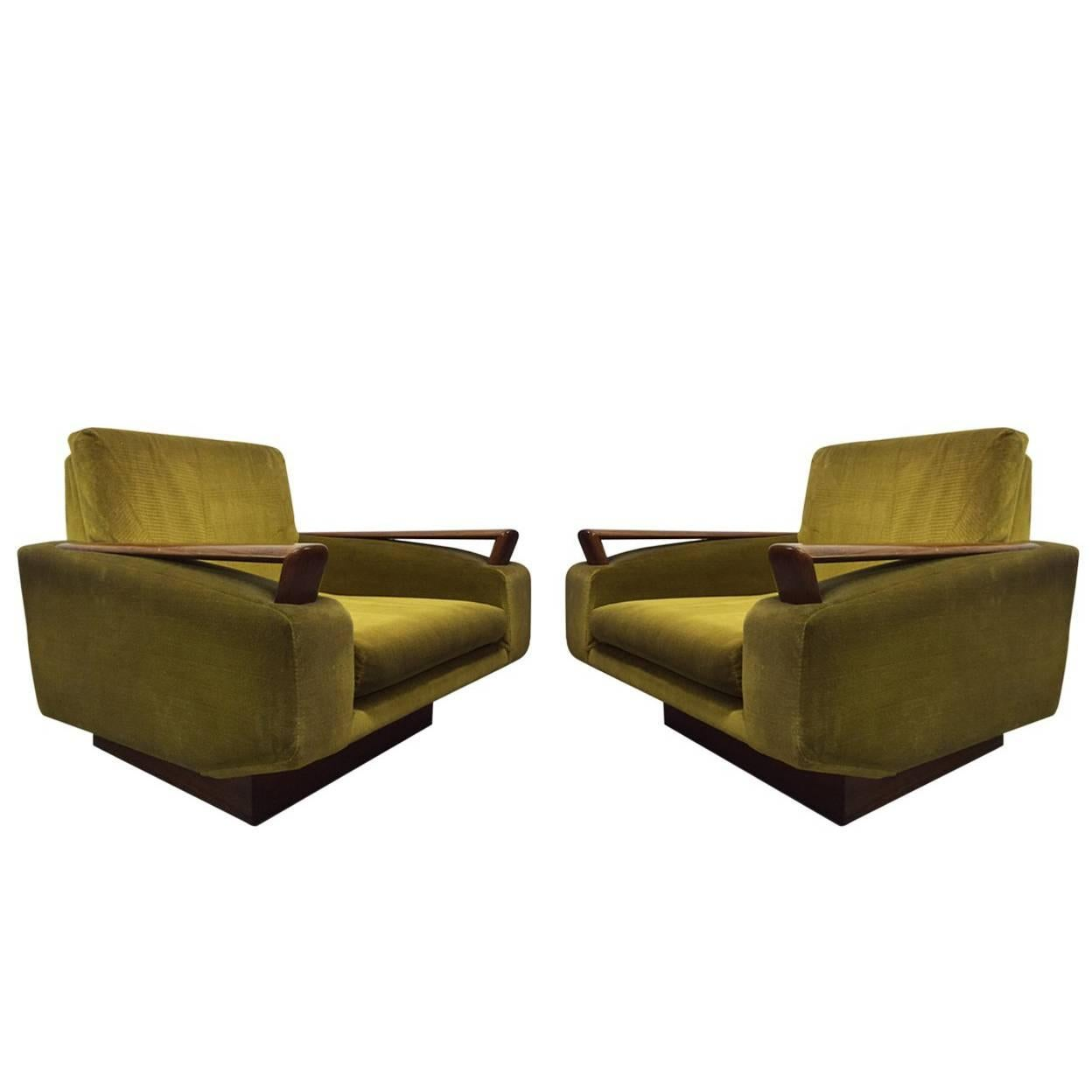 Pair of Jacques Adnet Sculptural Lounge Chairs