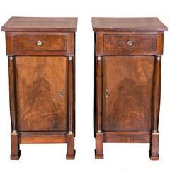 Pair of 19th Century French Empire Walnut Nightstands