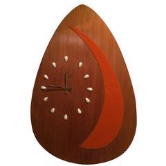 Huge Rare Mid-Century Modern Guitar Pick Wall Clock